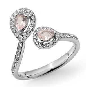 Platinum, Diamond, and Gemstone Engagment Ring with Open Teardrop Settings