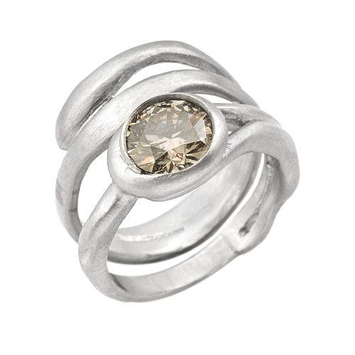 Platinum Champagne Diamond wedding ring set