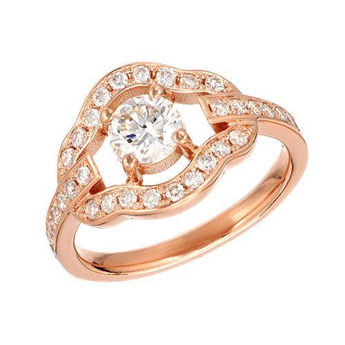 Rose Gold Vintage Diamond Pave Custom  Engagement Ring