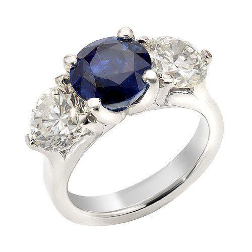 Blue Sapphire and Old European Cut Vintage Diamonds Custom Platinum Engagement Ring