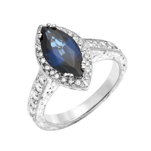 White Gold Sapphire Pave Diamond Engagement Ring