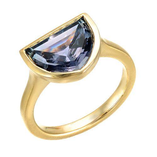 Natural Purple Sapphire Yellow Gold Custom Engagement Ring