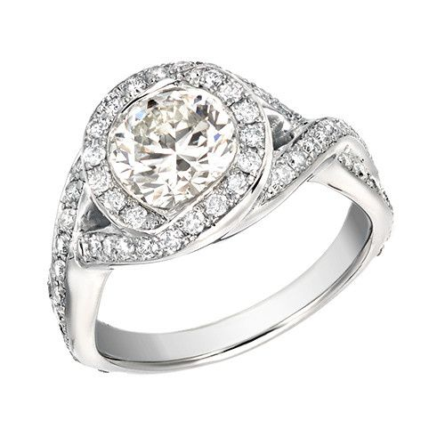 Platinum Vintage Pave Engagement Ring