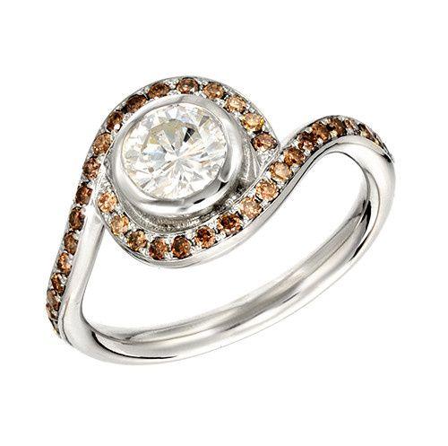 White Gold Vintage Diamond Chocolate Diamond Pave Custom Engagement Ring