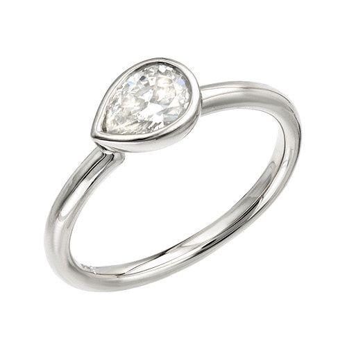 White Gold Pear Shape Custom Engagement Ring