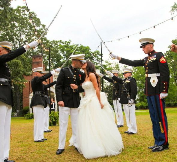 Military Southern wedding with all the bells and whistles on the back lawn of the Governor's Mansion
