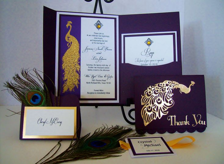 Golden Peacock Invitation