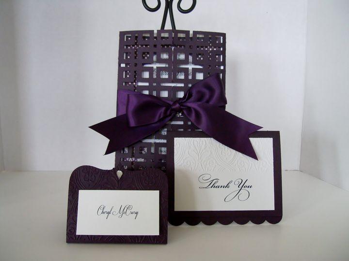Tmx Damask Eggplant Cards Close 51 372206 Moreno Valley, CA wedding invitation