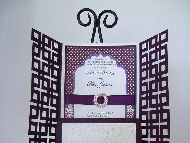 Tmx Damask Eggplant Open 51 372206 Moreno Valley, CA wedding invitation