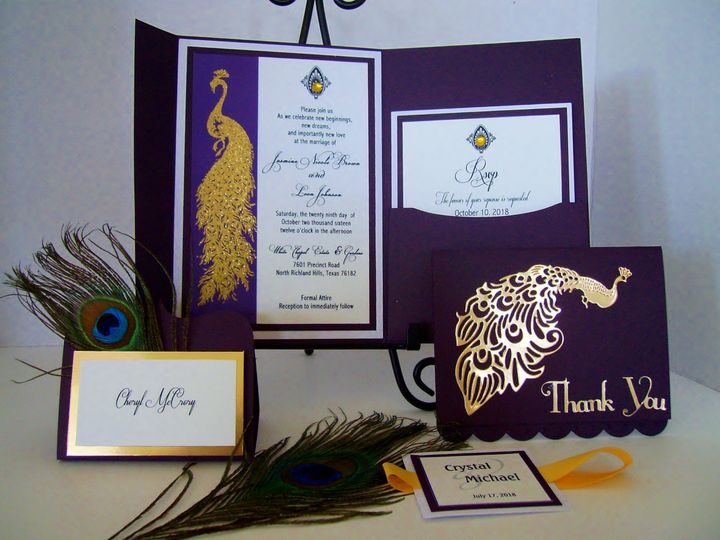 Tmx Golden Peacock Invitation Opener 51 372206 Moreno Valley, CA wedding invitation