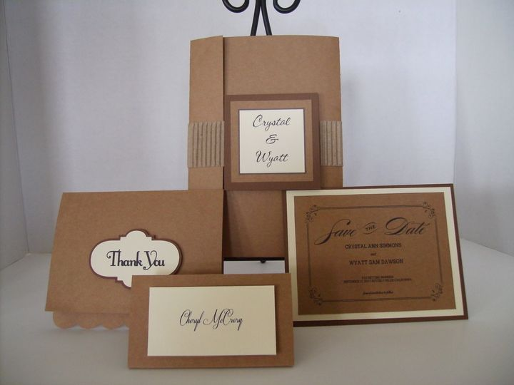 Tmx Kraft And Ivory Invitation Closse 51 372206 Moreno Valley, CA wedding invitation