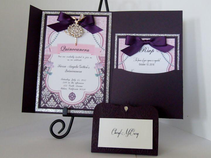 Tmx Luxurious Rhinestone Lady Eggplant Pocketfold Invitation 2 51 372206 Moreno Valley, CA wedding invitation