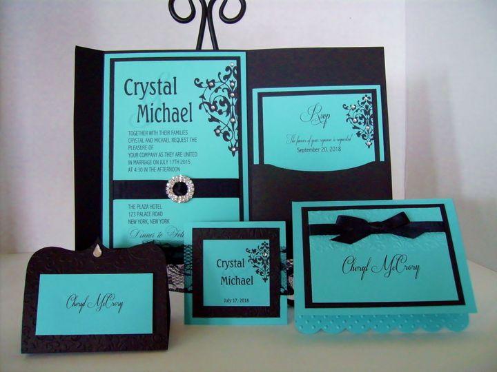 Tmx Tiffany Blue Black Invitation Suite 51 372206 Moreno Valley, CA wedding invitation