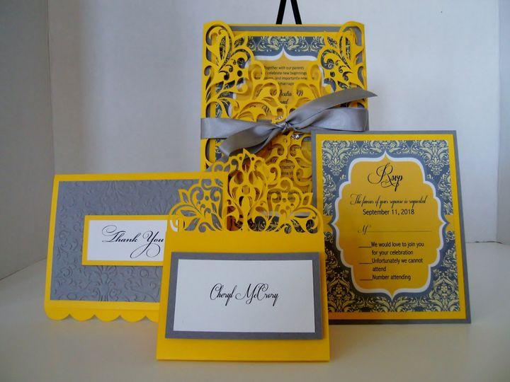 Tmx Yellow Gray Damask Cards 51 372206 Moreno Valley, CA wedding invitation