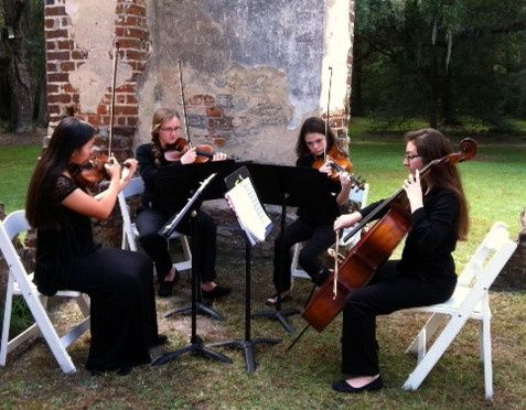 Beaufort Youth Orchestra Quartet playing a wedding at Old Sheldon Church