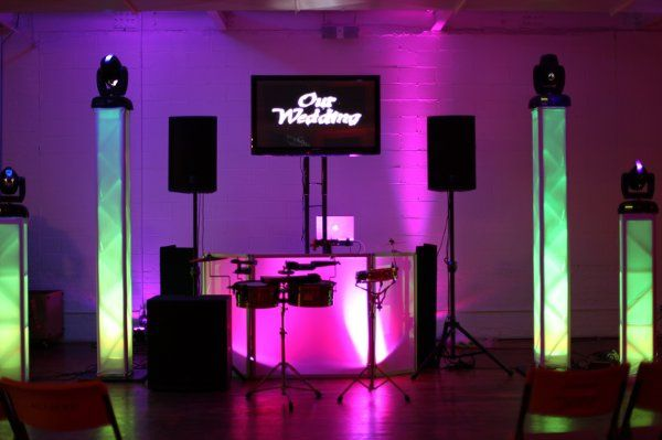 DJ with Sound, Concert Lighting, 1 Flat Screen & Montage with Candid Photo Shots.