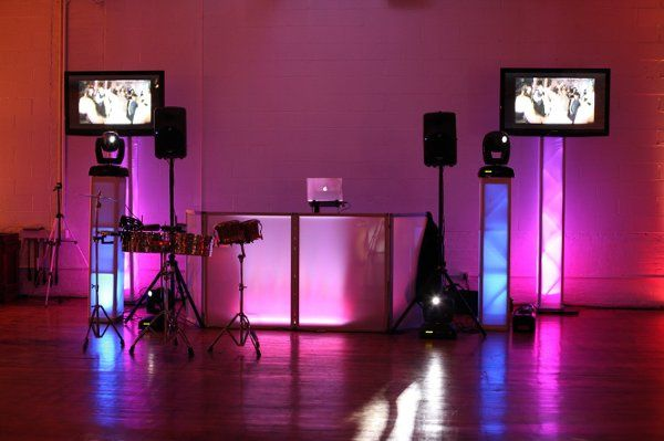 DJ, Concert Lighting, 2 Flat Screens & Montage with Candid Photo Shots, Live Percussionists.