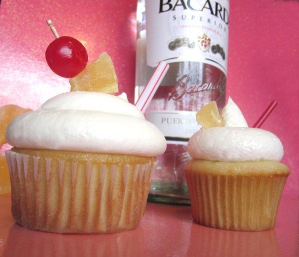 Pina Colada cupcakes in Standard and Mini sizes made with Bacardi Rum.