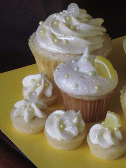 Top Shelf Lemon Drop cupcakes in Standard, Mini, and Bite sizes made with Grey Goose vodka.