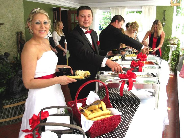 For indoor weddings, our lovely Solarium is a great location for your reception serving line.