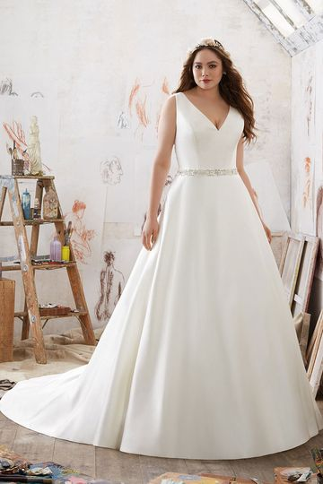 Merida, Style 3211	Simple and Elegant, This Duchess Satin A-Line Gown Accents the Natural Waist with...
