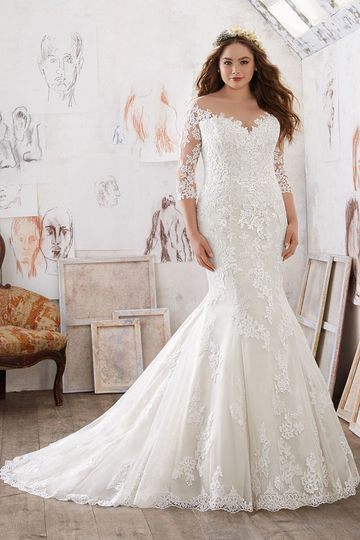 Mia, Style 3212	This Classic Fit & Flare Wedding Gown Features Exquisite Alençon and Venice Lace...
