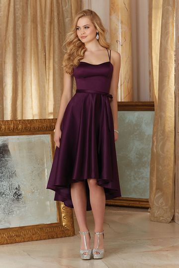 Style 31086		Elegant High Low Satin Bridesmaid Dress.  Sweetheart Neckline with Thin Double...