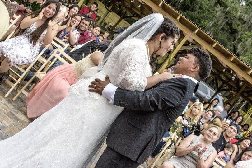 The newlywed couple dancing