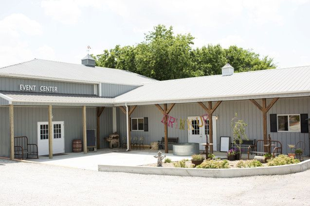 The front of our events barn for weddings and corporate events.