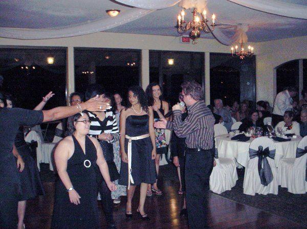 Bouquet toss at Indoor reception 10-18-08
