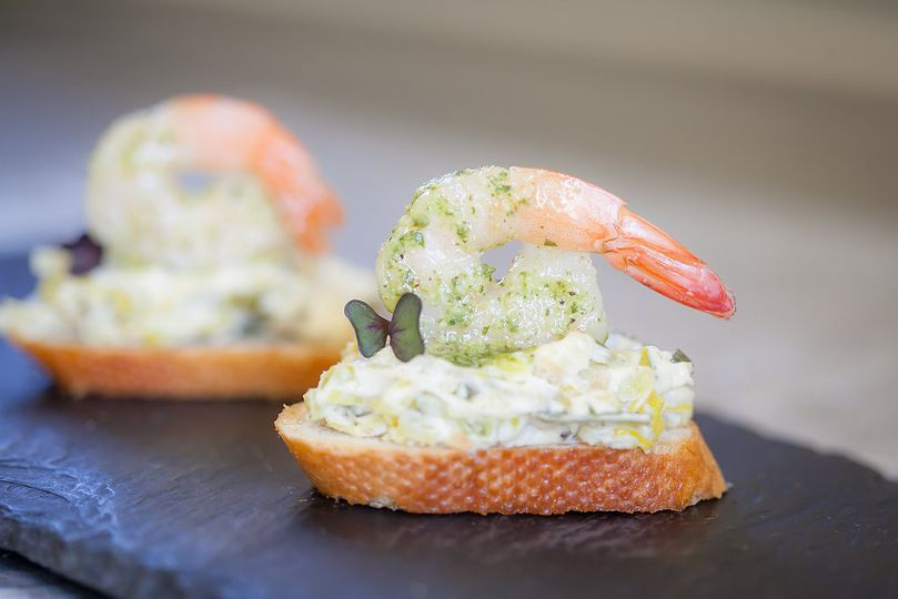 Creamy leek and basil pesto shrimp bruschetta