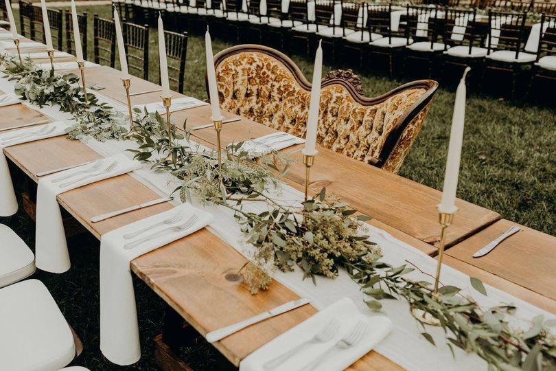 Candle and vine centerpiece for long table