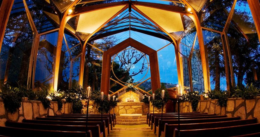 Chapel interior at night