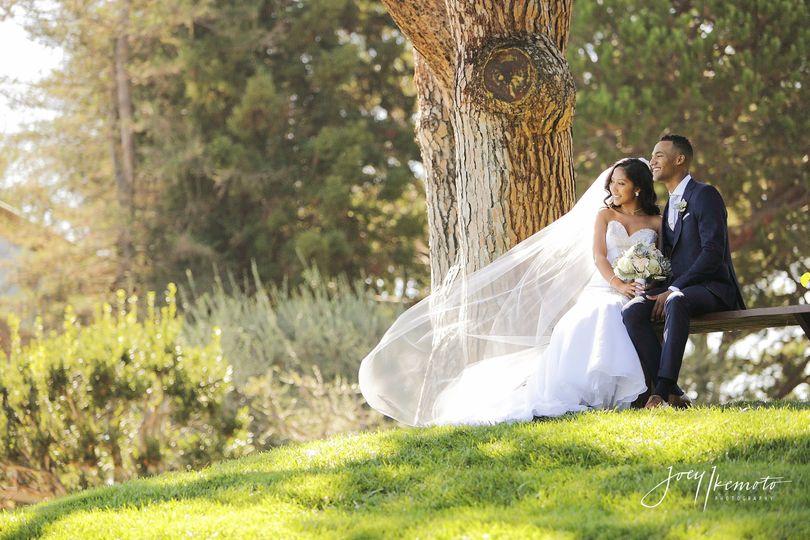 Wedding couple sitting outside