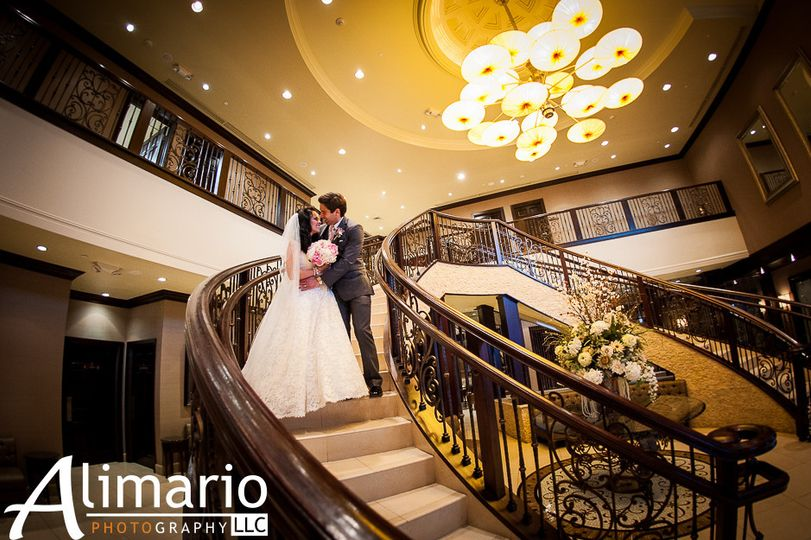 Newlyweds on the staircase