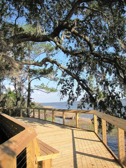 Overlooking the Cape Fear River on the boardwalk at Brunswick Town/Fort Anderson State Historic...