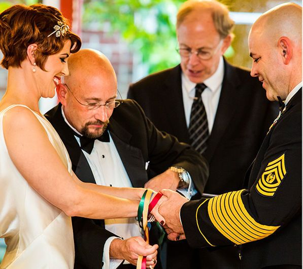 Wedding officiant heading the wedding ceremony
