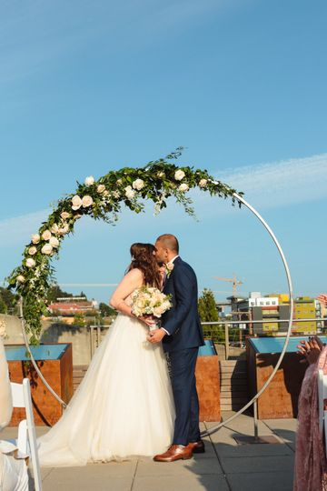 Rooftop Wedding with Arch