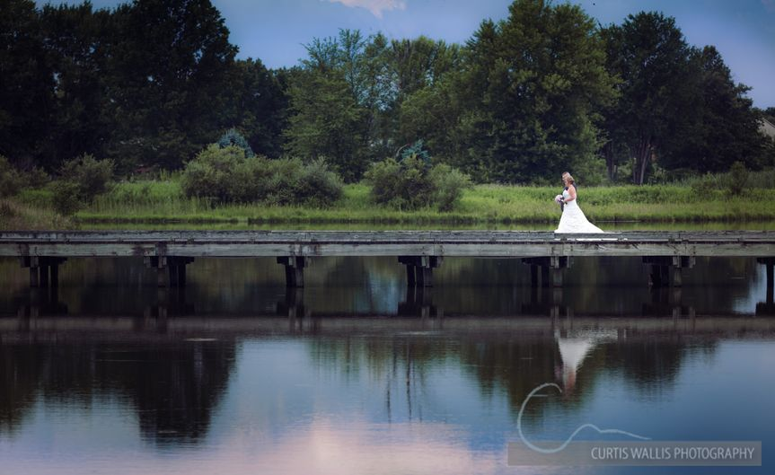 Bride and groom on the long bridge