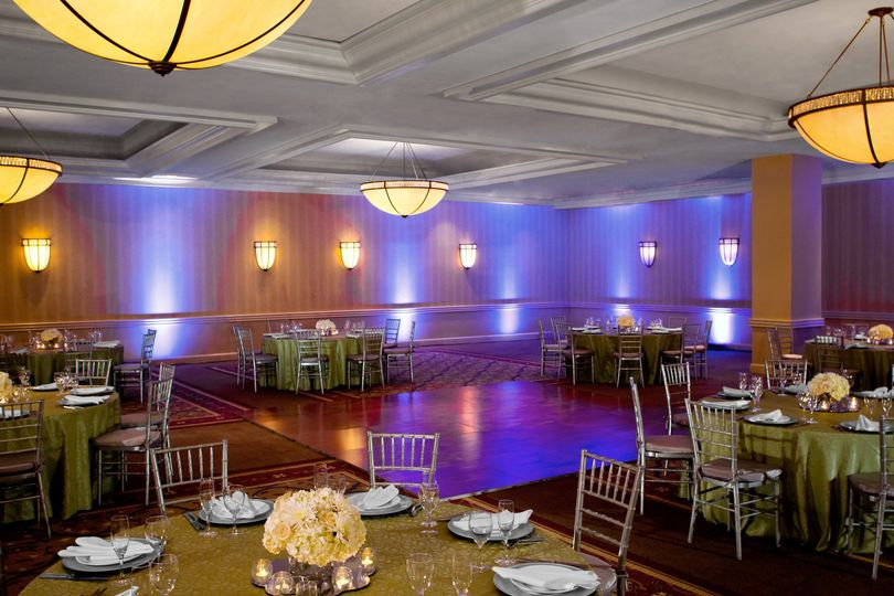 Reception hall setup and lighting