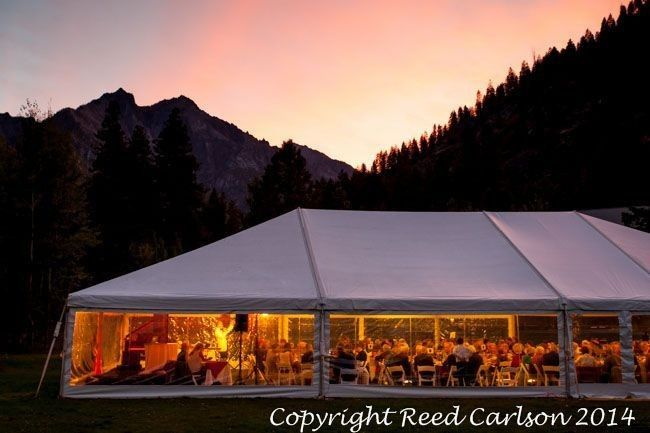 Reception tent at sunset