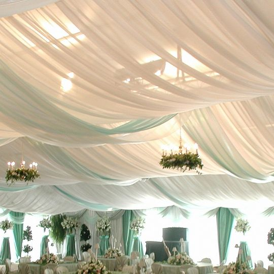 Reception tent drapes and decor