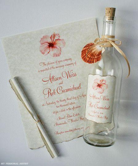 coral hibiscus beach bottle invitation