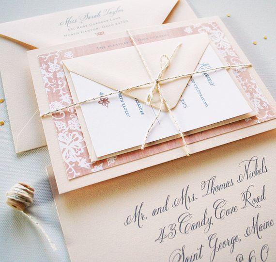 elegant burlap wedding stationery