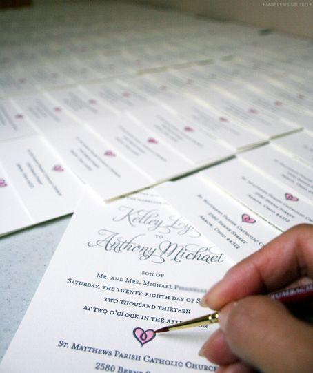 letterpress handpainted rustic wedding invitations