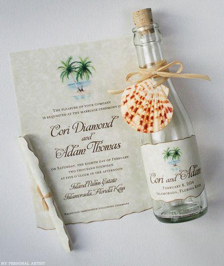 palm trees beach wedding bottle invitation