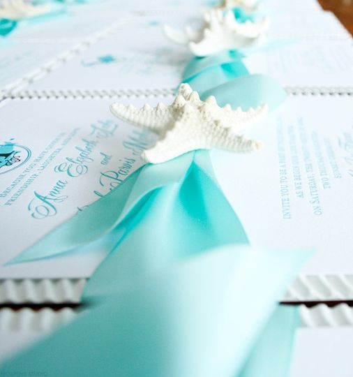 starfish wedding invitations mint green blu