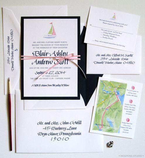 unique nautical wedding invitation