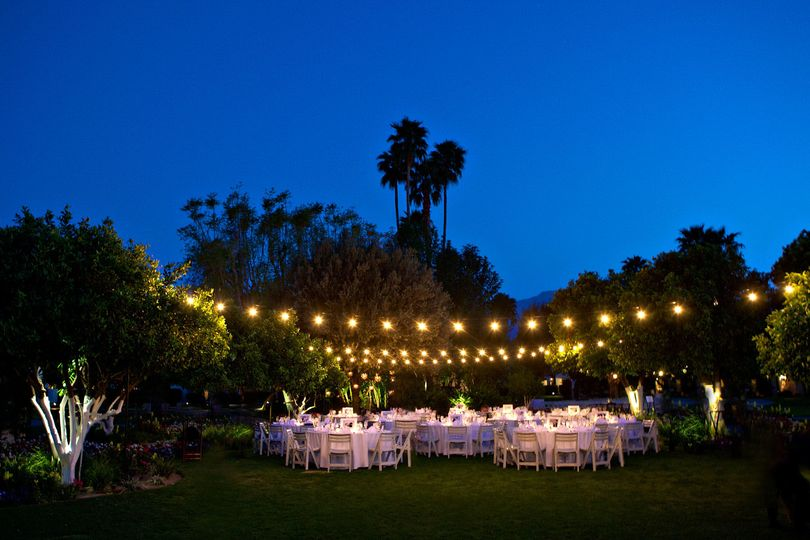 Waterfall lawn outdoor reception