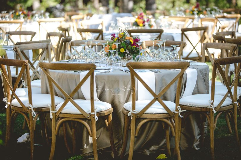 Crossback chair table settings Twenty Mile House weddings Tahoe Reno